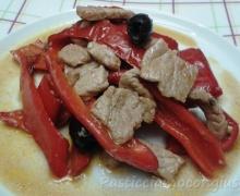 Stracetti di carne ai peperoni