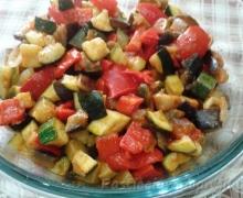 Caponata zucchine,melanzane e peperoni